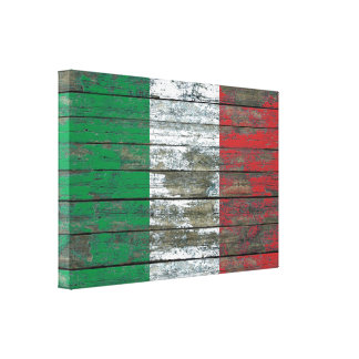Italian Flag on Rough Wood Boards Effect Stretched Canvas Print