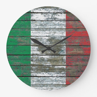 Italian Flag on Rough Wood Boards Effect Large Clock