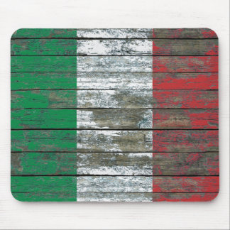Italian Flag on Rough Wood Boards Effect Mouse Pad