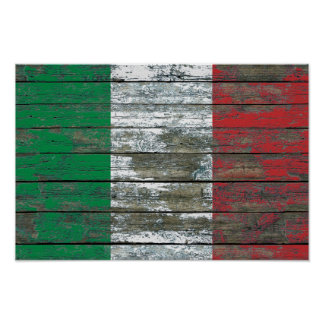 Italian Flag on Rough Wood Boards Effect Poster
