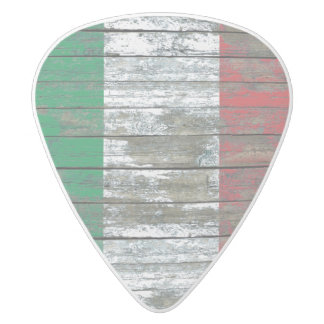 Italian Flag on Rough Wood Boards Effect White Delrin Guitar Pick