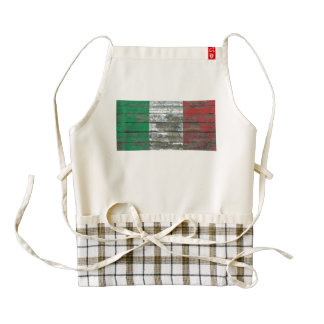 Italian Flag on Rough Wood Boards Effect Zazzle HEART Apron