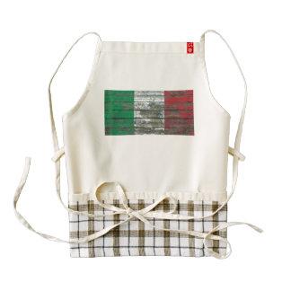 Italian Flag on Rough Wood Boards Effect Zazzle HEART Apron