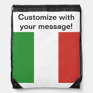 Italian Flag Drawstring Backpacks