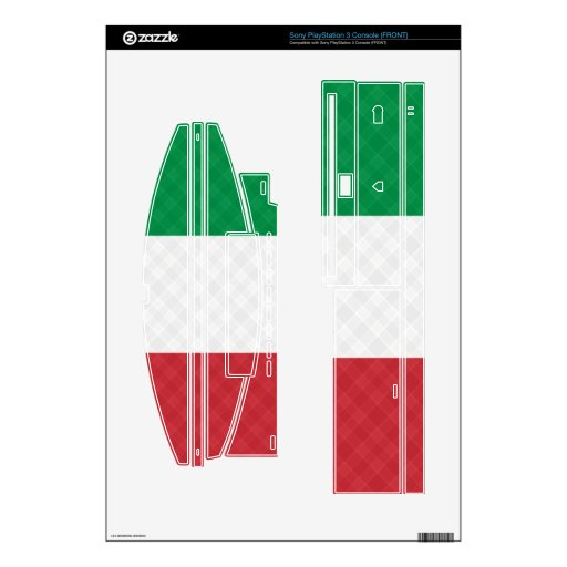 Italian Flag Plaid Playstation 3 Zazzle Skins Decal For PS3 Console