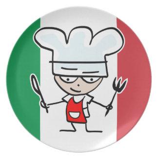 Italian flag plates with cute cartoon chef