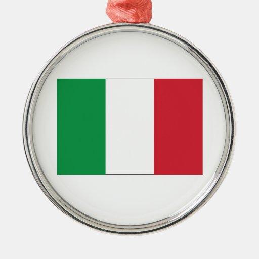 Italian Flag Round Metal Christmas Ornament