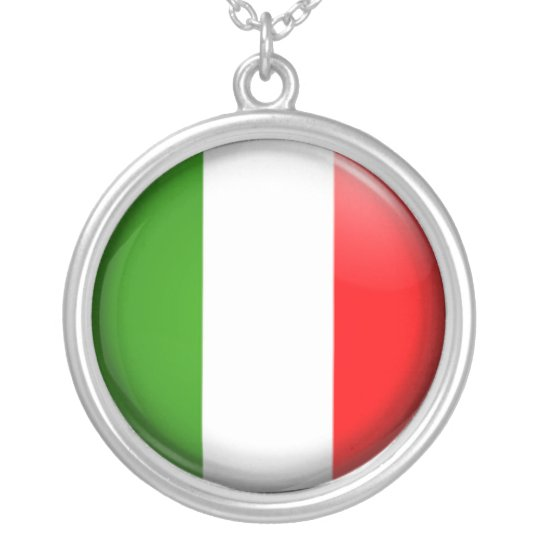 Italian  flag silver plated necklace