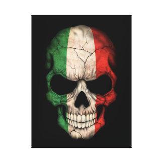 Italian Flag Skull on Black Canvas Print