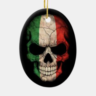 Italian Flag Skull on Black Ceramic Ornament