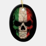 Italian Flag Skull on Black Double-Sided Oval Ceramic Christmas Ornament