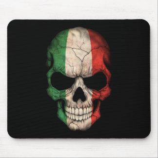 Italian Flag Skull on Black Mousepads