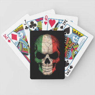 Italian Flag Skull on Black Bicycle Card Deck