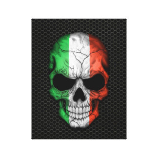 Italian Flag Skull on Steel Mesh Graphic Stretched Canvas Prints
