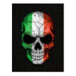 Italian Flag Skull on Steel Mesh Graphic Post Cards