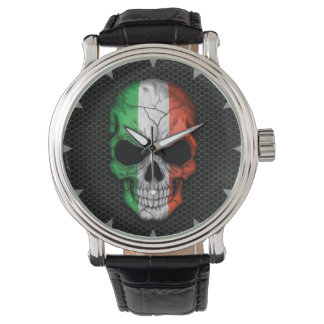 Italian Flag Skull on Steel Mesh Graphic Watch
