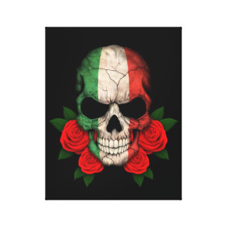 Italian Flag Skull with Red Roses Stretched Canvas Prints