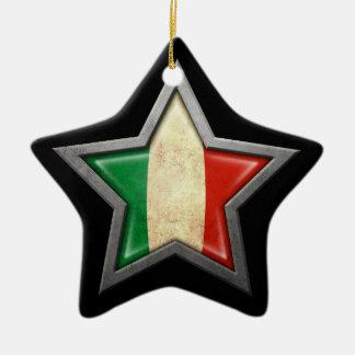 Italian Flag Star on Black Ceramic Ornament