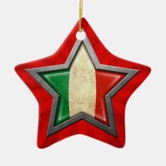 Italian Flag Star with Rays of Light Double-Sided Star Ceramic Christmas Ornament