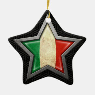 Italian Flag Star with Steel Mesh Effect Double-Sided Star Ceramic Christmas Ornament