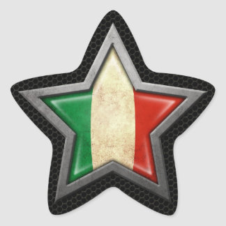 Italian Flag Star with Steel Mesh Effect Star Sticker