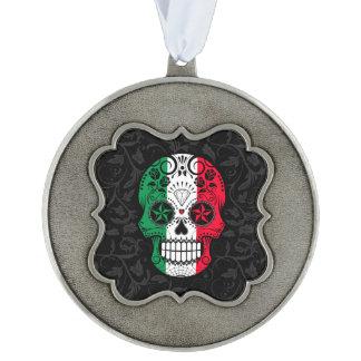 Italian Flag Sugar Skull with Roses Scalloped Pewter Christmas Ornament
