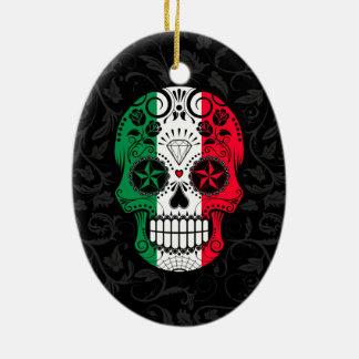 Italian Flag Sugar Skull with Roses Double-Sided Oval Ceramic Christmas Ornament