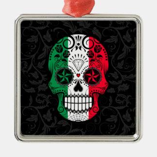 Italian Flag Sugar Skull with Roses Square Metal Christmas Ornament