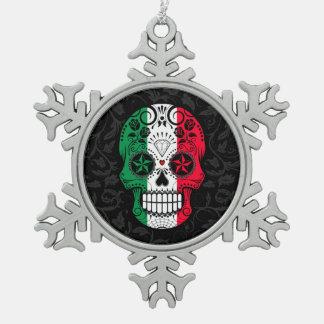 Italian Flag Sugar Skull with Roses Snowflake Pewter Christmas Ornament