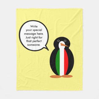Italian Flag Talking Penguin Fleece Blanket