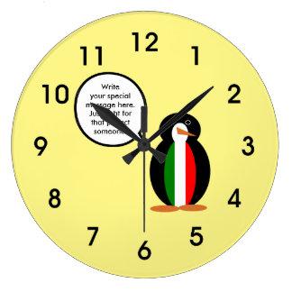 Italian Flag Talking Penguin Large Clock