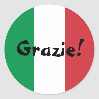 Italian Flag Thank You Grazie! Classic Round Sticker
