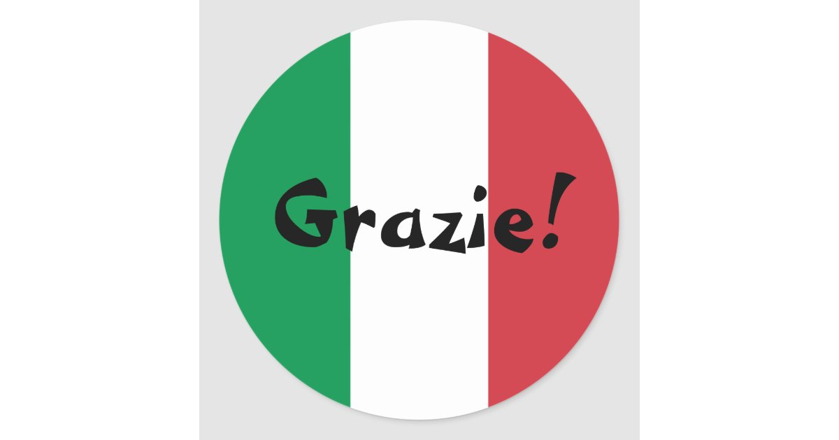 Thank You For The Wedding Gift In Italian : Italian Flag Thank You Grazie! Classic Round Sticker Zazzle