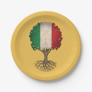 Italian Flag Tree of Life Customizable 7 Inch Paper Plate