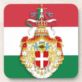 Italian Flag with insignia of the Kingdom of Italy Beverage Coaster