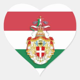 Italian Flag with insignia of the Kingdom of Italy Heart Sticker