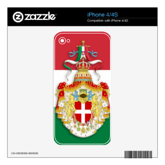 Italian Flag with insignia of the Kingdom of Italy iPhone 4 Skins