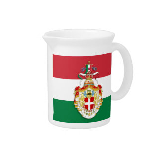 Italian Flag with insignia of the Kingdom of Italy Beverage Pitcher