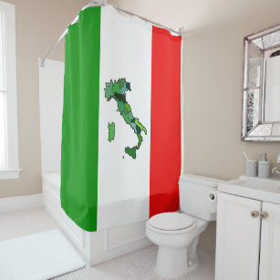 Italian Flag With Map Of Italy Shower Curtain