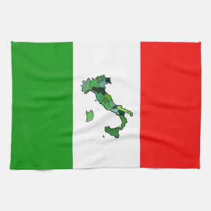 Italian Flag With Map Of Italy Towel