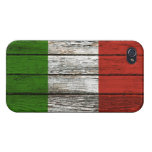 Italian Flag with Rough Wood Grain Effect iPhone 4/4S Case