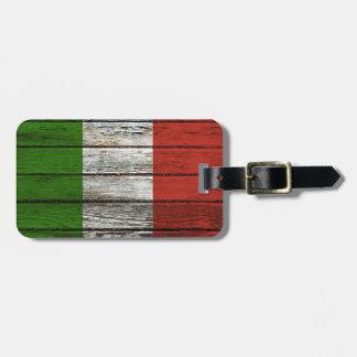 Italian Flag with Rough Wood Grain Effect Luggage Tag