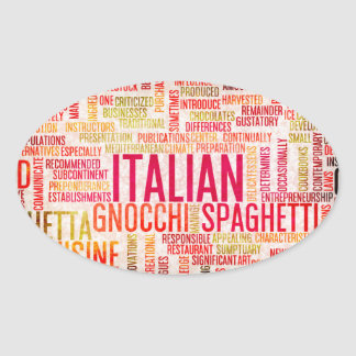 Italian Food and Cuisine Menu Background Oval Sticker