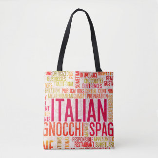 Italian Food and Cuisine Menu Background Tote Bag