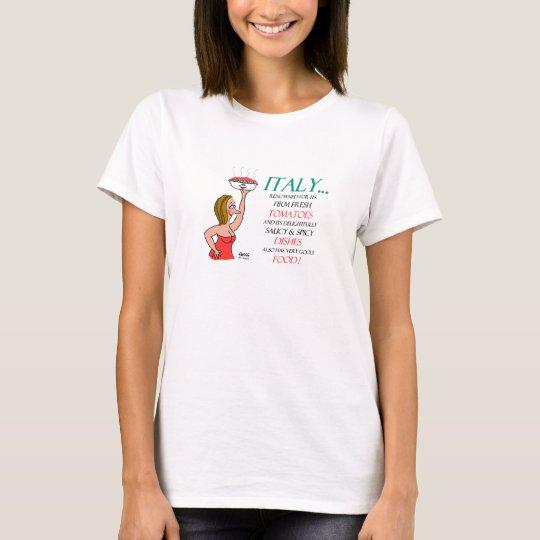 Italian Food and Women Cartoon Funny T-Shirt