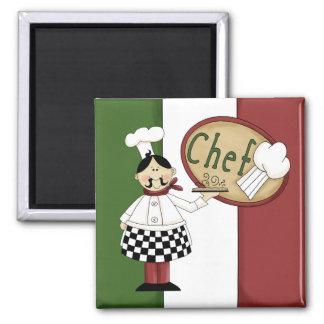 Italian Food Chef 2 Inch Square Magnet