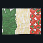 "Italian Food Kitchen Towel<br><div class=""desc"">Pasta is the favorite foundation for a family meal.  Get this delicious design on towels,  aprons,  and shirts for the perfect gift.</div>"