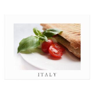 Italian food panini sandwich white text postcard