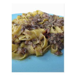 Italian fresh fettuccine or tagliatelle pasta postcard