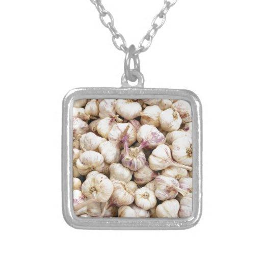 Italian Garlic Bulbs Square Pendant Necklace